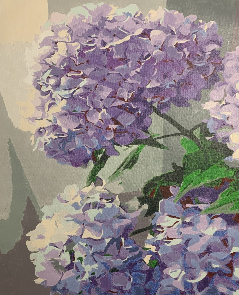 hydrangea flower paint by numbers piece